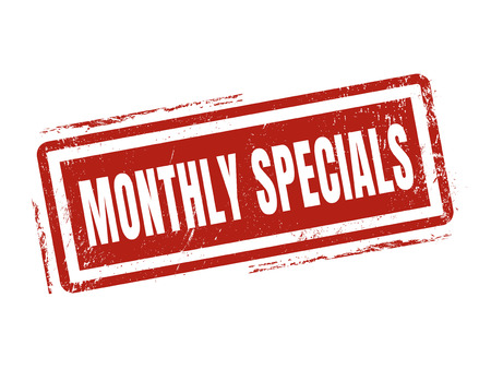 monthly specials in red stamp style, stamped on white background