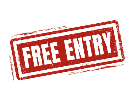 free entry in red stamp style, stamped on white background