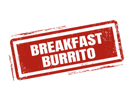 breakfast burrito in red stamp style, stamped on white background