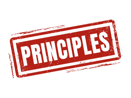 principles in red stamp style, stamped on white background Illustration