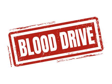 bloedaandrijving in rode stempelstijl, gestempeld op witte achtergrond