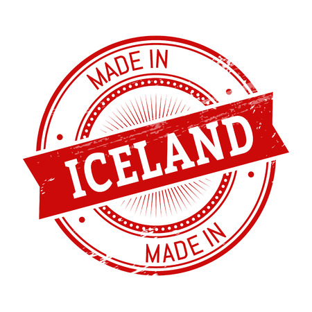validation: made in Iceland text, red color round stamper illustration