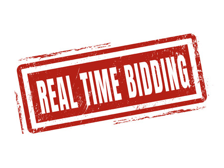 stock quotes: real time bidding in red stamp style, stamped on white background