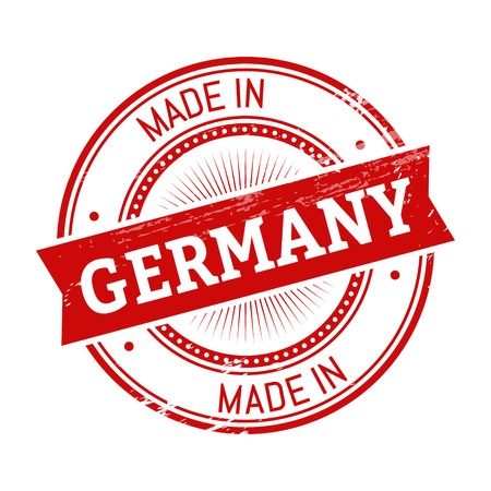 validation: made in Germany text, red color round stamper illustration