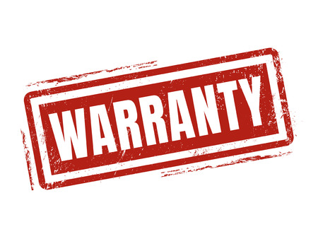 warranty in red stamp style, stamped on white background
