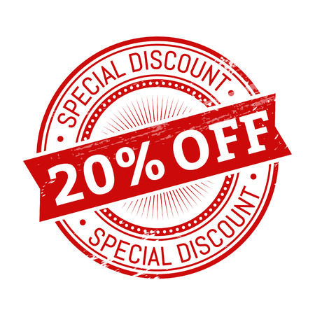 20 percent off text, red color round stamper illustration