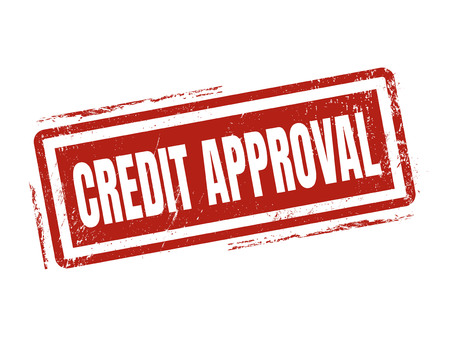 credit approval in red stamp style, stamped on white background