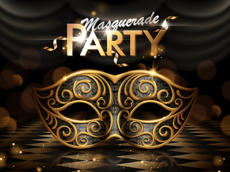 Masquerade party poster, attractive eye mask with golden frame isolated on dark bokeh background in 3d illustration Çizim