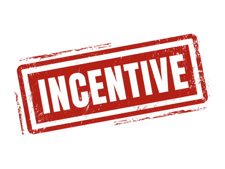 incentive in red stamp style, stamped on white background