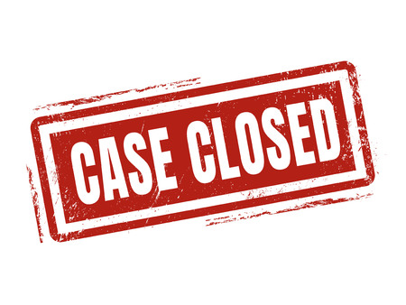 case closed in red stamp style, stamped on white background