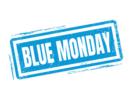 morose: blue monday in blue stamp style, stamped on white background