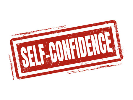 self-confidence in red stamp style, stamped on white background Illustration