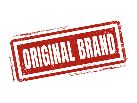 original brand in red stamp style, stamped on white background
