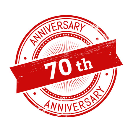 validation: 70th anniversary text, red color round stamper illustration Illustration