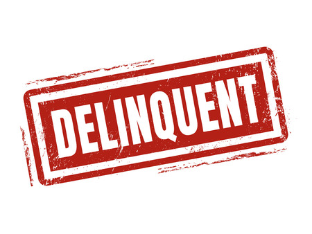 delinquent: delinquent in red stamp style, stamped on white background