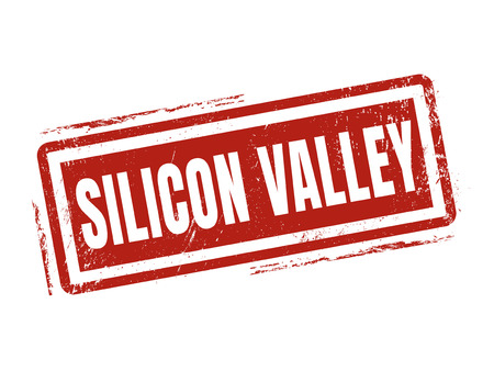 silicon valley in red stamp style, stamped on white background