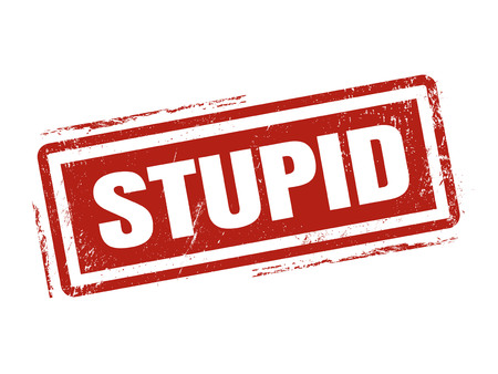 stupid in red stamp style, stamped on white background 向量圖像
