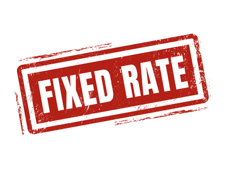 fixed rate in red stamp style, stamped on white background