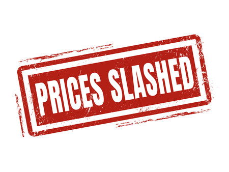 prices slashed in red stamp style, stamped on white background