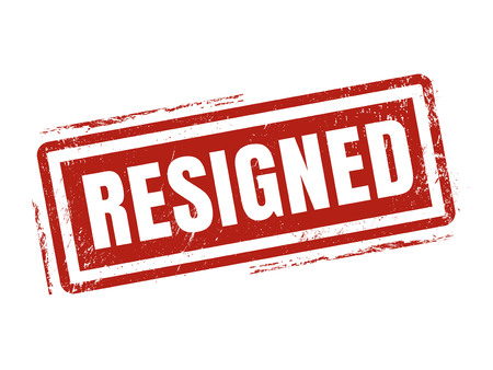 resigned in red stamp style, stamped on white background