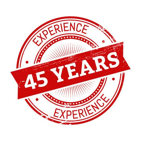 45 Jahre Erfahrungstext, rote Farbe runden Stempel Abbildung Standard-Bild - 82899906