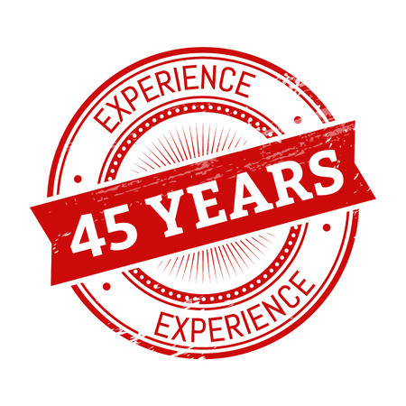 45 years experience text, red color round stamper illustration
