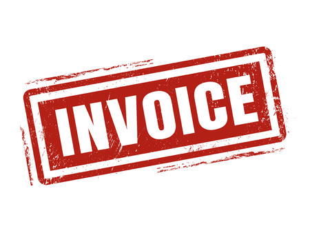 invoice in red stamp style, stamped on white background