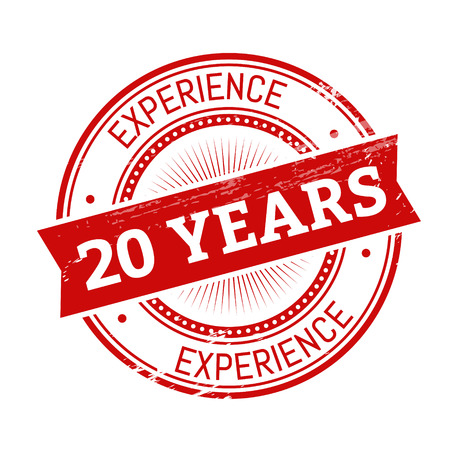20 years experience text, red color round stamper illustration