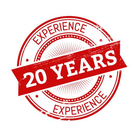 20 Jahre Erfahrung Text, rote Farbe runde Stamper Abbildung Vektorgrafik