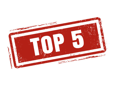 top 5 in red stamp style, stamped on white background