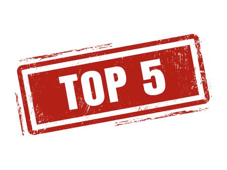 top 5 in rode stempelstijl, gestempeld op witte achtergrond