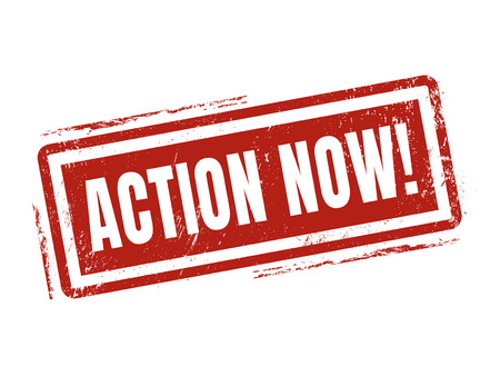 action now in red stamp style, stamped on white background