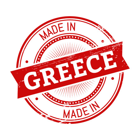 made in Greece text, red color round stamper illustration