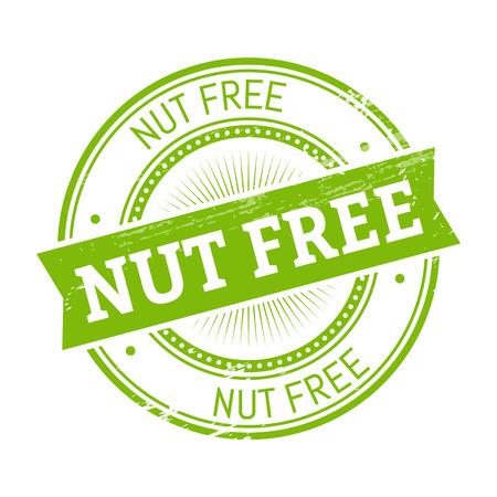 validation: nut free text, green color round stamper illustration