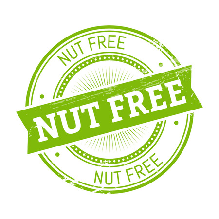 nut free text, green color round stamper illustration