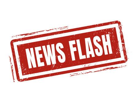 Nieuwsflits in rode stempel stijl, gestempeld op een witte achtergrond