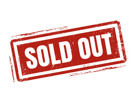 sold out in red stamp style, stamped on white background