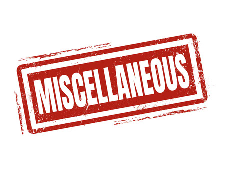 miscellaneous in red stamp style, stamped on white background