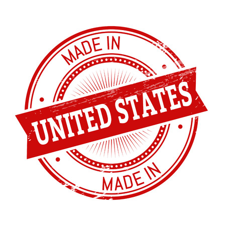 validation: made in United States text, red color round stamper illustration