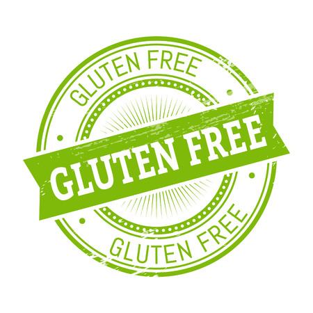 validation: gluten free text, green color round stamper illustration
