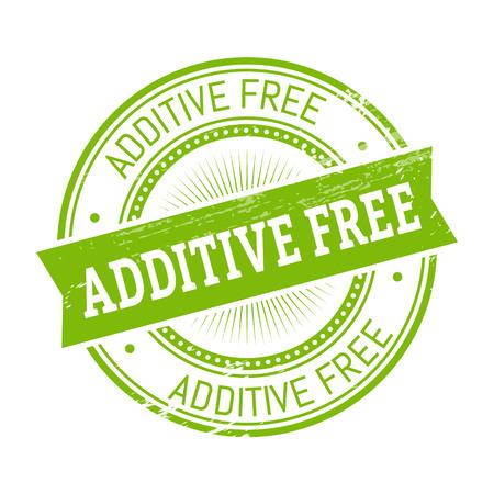 additive free text, green color round stamper illustration