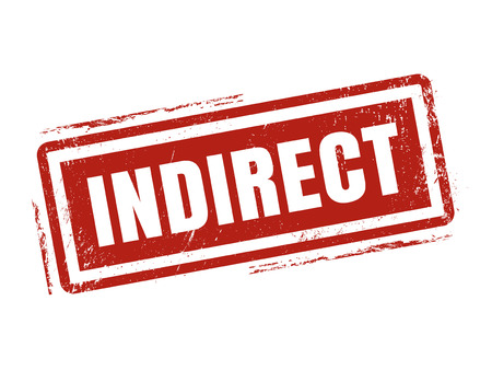 indirect in red stamp style, stamped on white background Illustration