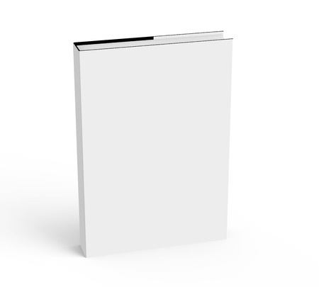 3D rendering hardcover book, standing single book mockup isolated on white background, elevated view