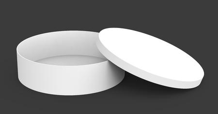 Single blank round box, short paper box mockup with its lid lean on it isolated on dark background, 3d rendering Stock fotó