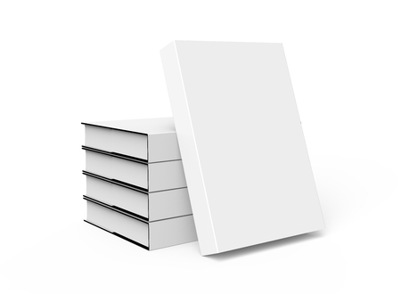 3D rendering hardcover books, five books mockup pile up and isolated on white background