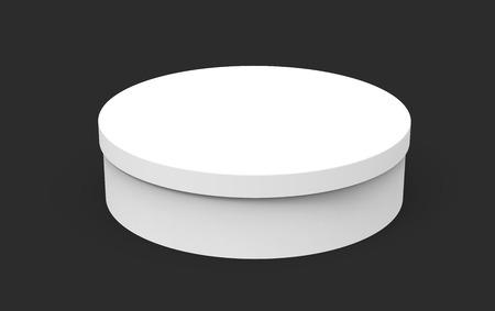 Single blank round box, short paper box mockup isolated on dark background, 3d rendering Фото со стока