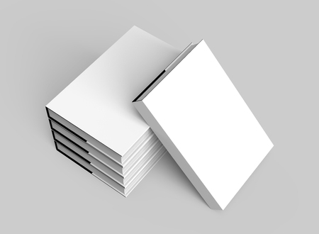 elevated: 3D rendering hardcover books, five books mockup pile up and isolated on light gray background, elevated view