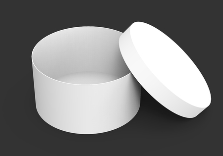 elevated: Single blank round box, paper box mockup with its lid lean on it isolated on dark background in 3d rendering