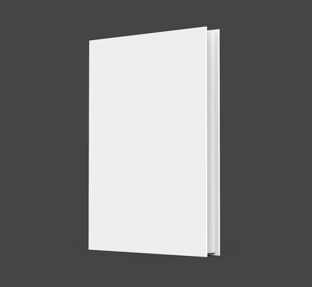 3D rendering hardcover book, standing single book mockup isolated on dark background