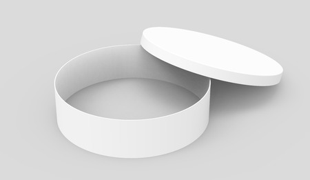 elevated: Single blank round box, short paper box mockup with its lid lean on it isolated on light gray background, 3d rendering and elevated view